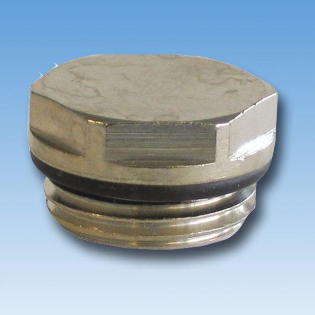 DE-015 Afslutningsprop forkromet med o-ring til radiator