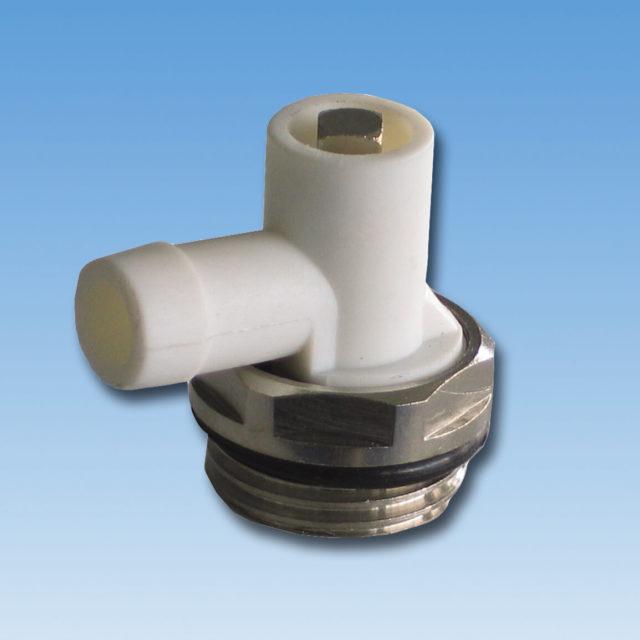 DE-043 Aftapningsventil forkromet med o-ring. Drejelig til radiator
