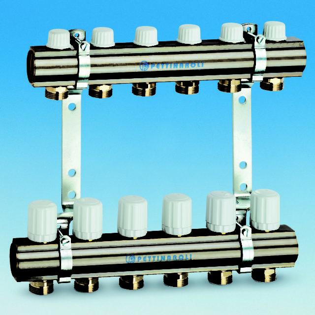 7035TDM fordelersystem, fremløb, returløb, vægbeslag, uden fittings.