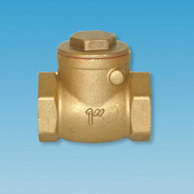 184GO/184MO klapkontraventil, gummiskive, metalskive, messing, vandret montering