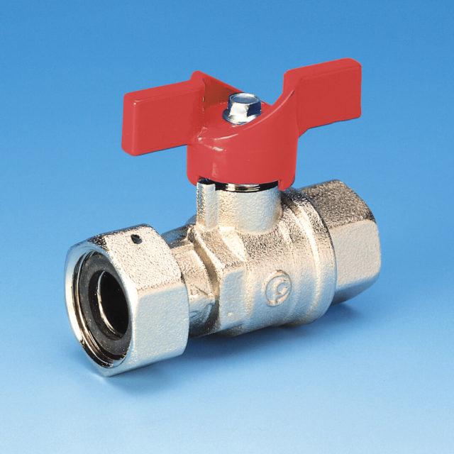 52METR kuglehane, omløber/muffe, rødt aluminium T-greb