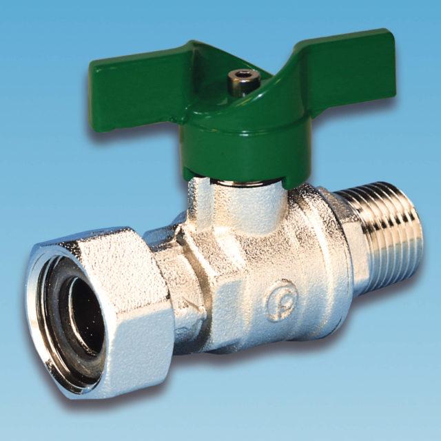 52METV/1 kuglehane, omløber/nippel, grønt aluminium T-greb