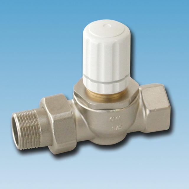 763H radiatorventil, ligeløbende, høj Kv værdi, til termostat eller aktuator, indvendigt gevind, forniklet