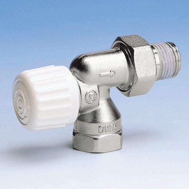 800PPR radiatorventil, omvendt vinkelløbende, til termostat eller aktuator, indvendigt gevind, forniklet, forindstilling