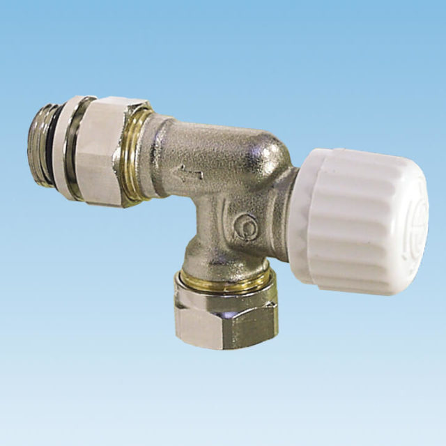 810SN radiatorventil, omvendt vinkelløbende, til termostat eller termoaktuator, klemringsforskruning, overgangsnippel