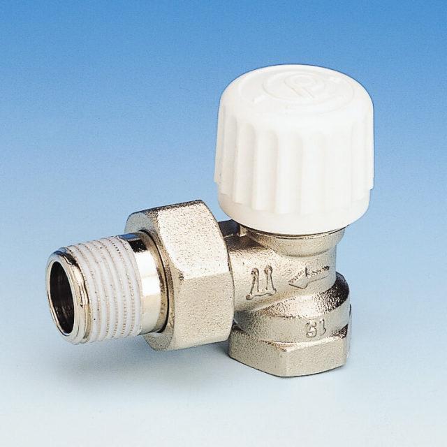 760P radiatorventil, vinkelløbende, termostat eller aktuator, indvendigt gevind, forniklet