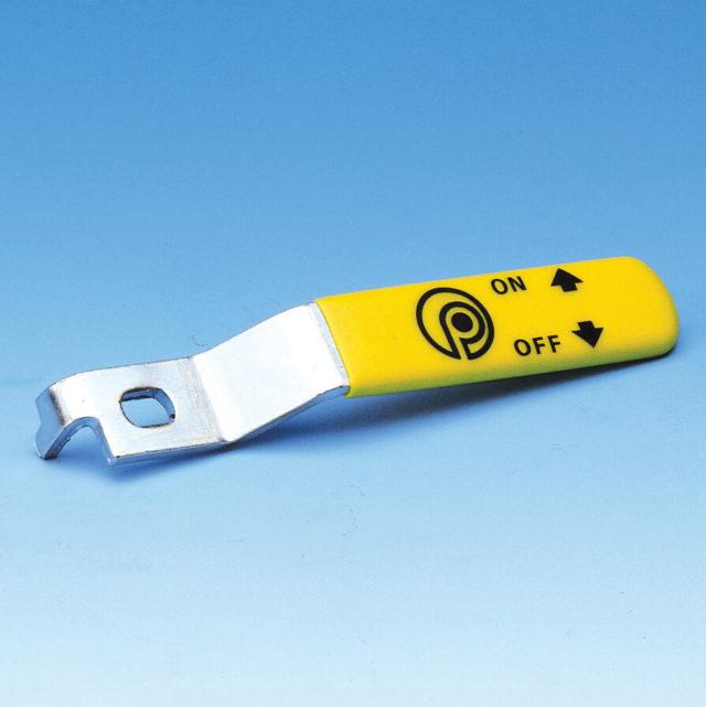 G051 gult stålgreb til gaskuglehane serie G50