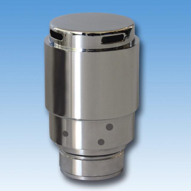 109L termostathoved, højglanspoleret, indbygget væskefyldt føler, temperaturlås, tyverisikret anordning, hvid, krom, satin, domignon