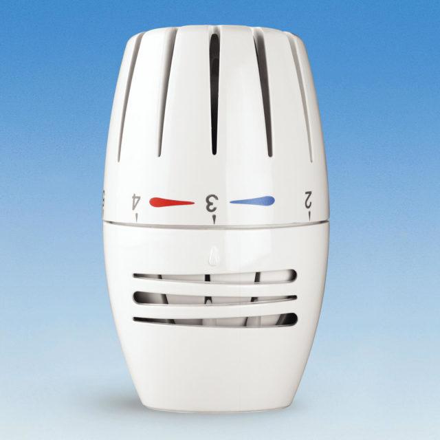 107lr termostathoved, indbygget væskefyldt føler, temperaturlåsering, tyverisikret anordning, til ventiler serie 760P og 800P, oval