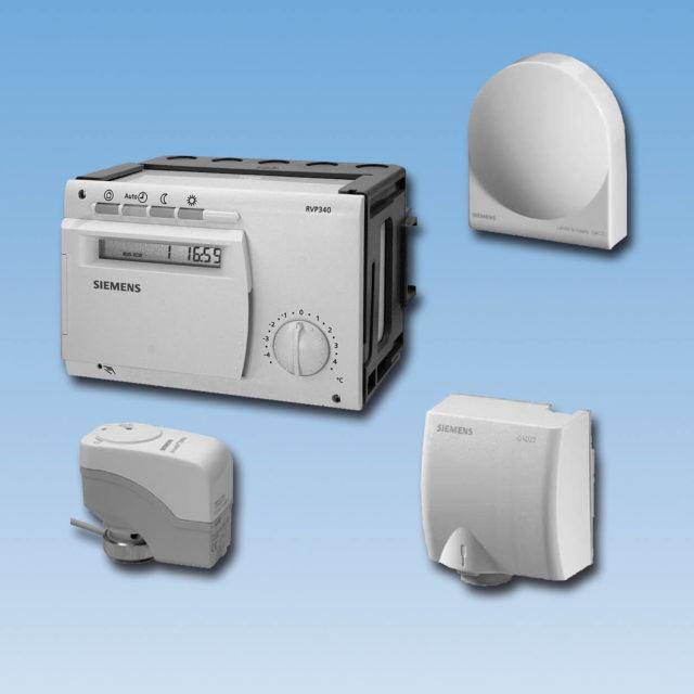 GVP-W vejrkompenseringsanlæg, styring, udeføler, påspændingsføler, aktuator, adapter