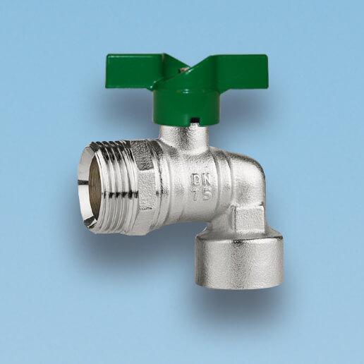 209V/2 vinkelkuglehane, nippel/muffe, vandmåler, grønt aluminium T-greb