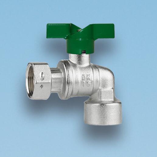 209V vinkelkuglehane, omløbermøtrik/muffe, vandmåler, grønt aluminium T-greb