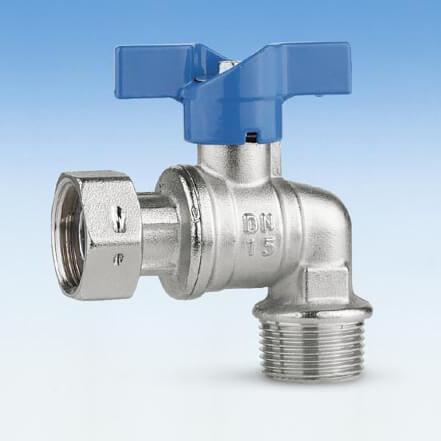 209B/1 vinkelkuglehane, omløbermøtrik/nippel, vandmåler, blåt aluminium T-greb