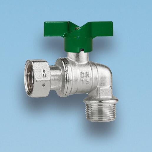 209V/1  vinkelkuglehane, omløbermøtrik/nippel, vandmåler, grønt aluminium T-greb