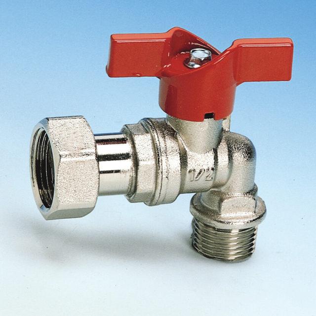 209/1 vinkelkuglehane, omløbermøtrik/nippel, vandmåler, rødt aluminium T-greb