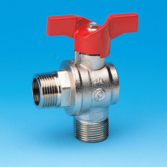 59/2 vinkelkuglehane, fuldt gennemløb, nippel/nippel, rødt aluminium T-greb