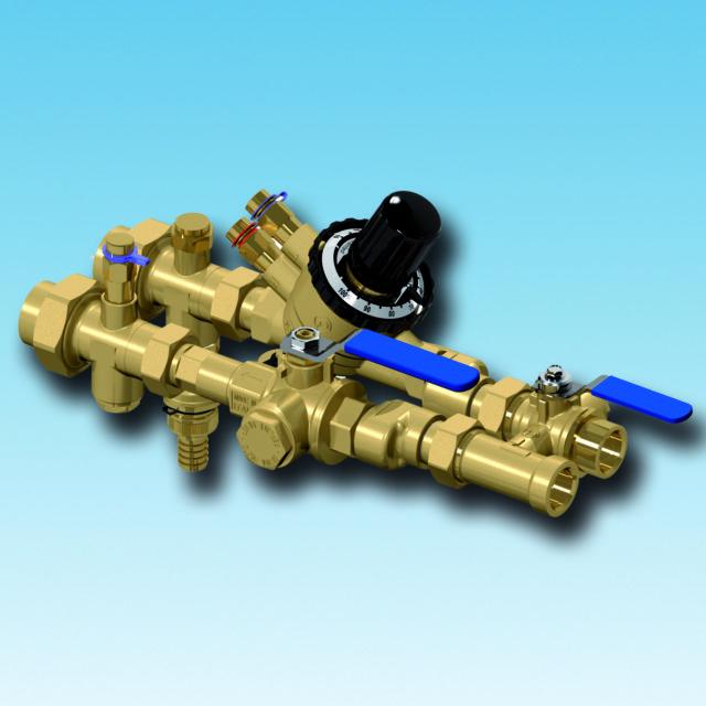 XT601 flushing bypass, strengreguleringsventil, filterball, afspærringsventil, integreret filter