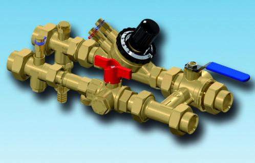 XT801 flushing bypass, strengreguleringsventil, filterball, afspærringsventil, integreret filter
