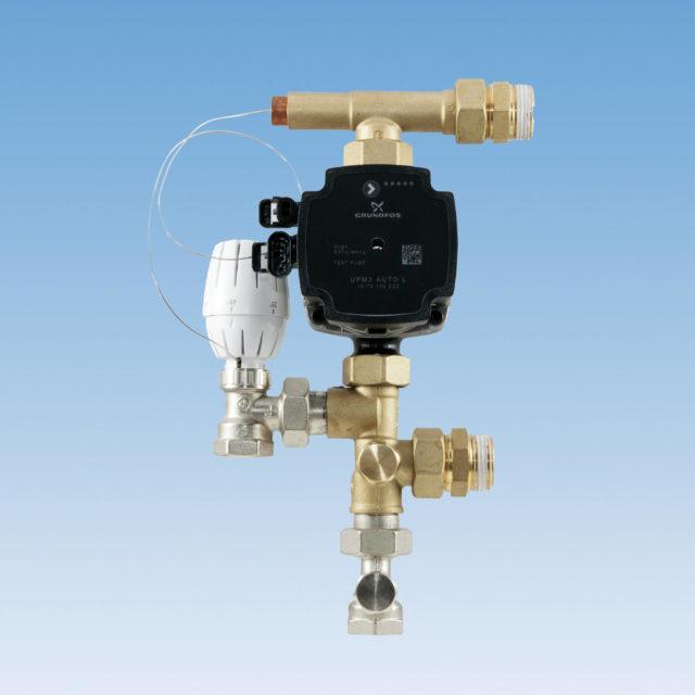 7021 parallelshunt, kompakt, ligeløbende tilslutningssæt, selvvirkende termostat, integreret kontraventil, UPM3 Grundfos pumpe