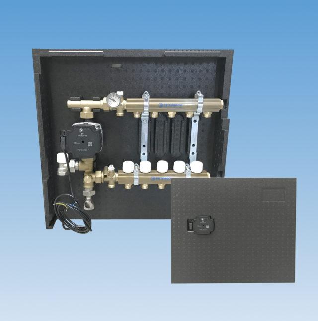 """IS7037 isoleringsboks til gulvvarmemanifold, fordelerrør, 1"""" og 3/4"""", 5 kredse"""