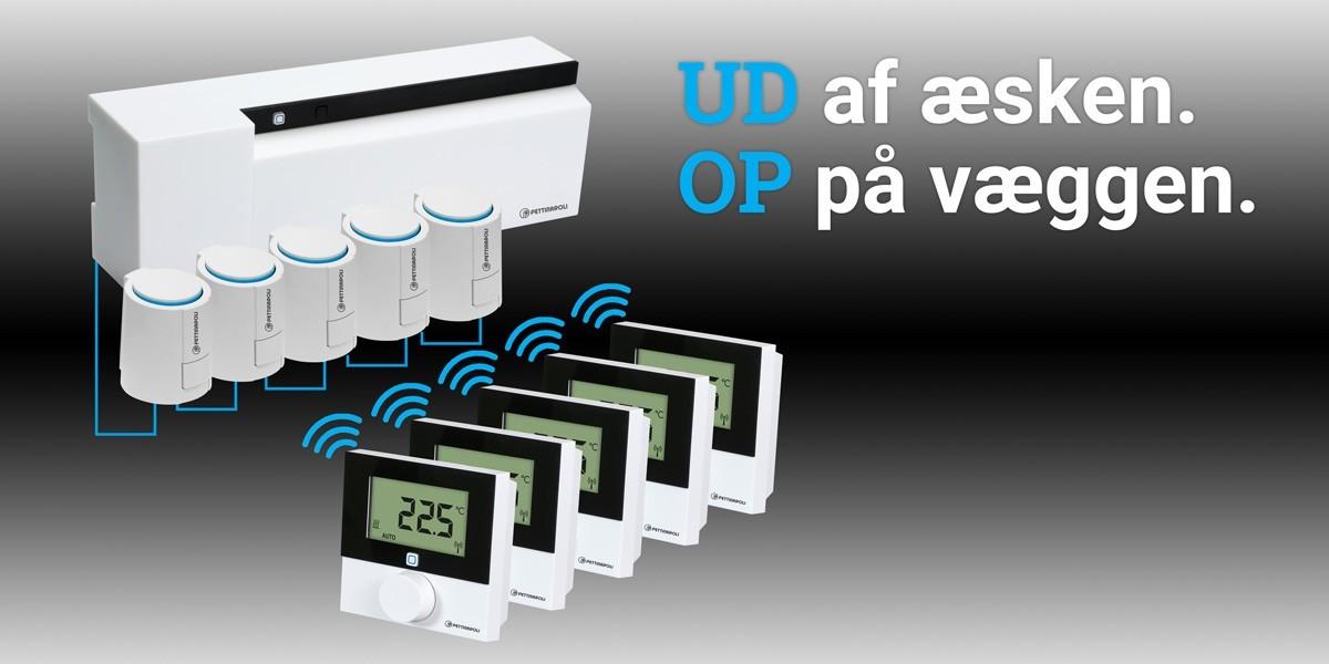 IP+ komponenter: UD af æsken. OP på væggen.