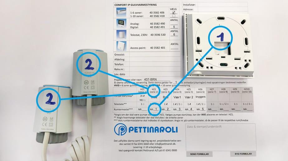 IP+ med mærkninger klar til at sætte op