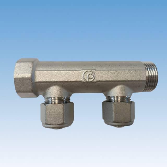 Bi-502 brugsvandsfordelerrør, cc50, 2 og 3 afgreninger, messing, tea-belægning